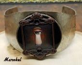 Peek A Boo Steampunk Industrial Cuff Unisex Adjustable Copper Keyhole Eye