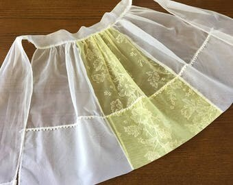 50s Hostess Apron Vintage Half Apron White and Yellow Organza Hand Made