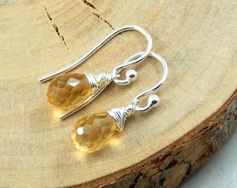 Citrine Earrings, Gemstone Solitaire Earrings, Sterling Silver, November birthstone, Dangle Earrings, Wire Wrapped Earrings