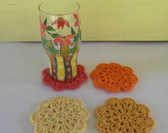 Crochet Flower Coasters - Drink Coasters - Set of Four - ready to ship