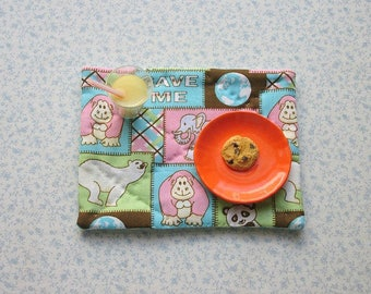 18 inch doll hand quilted save the animals set of 2 place mats
