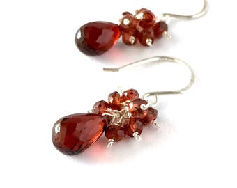 Red Garnet Gemstone Sterling Silver Earrings. Faceted Briolette Teardrop Gemstone Cluster Earrings. Natural Raw Gemstone Earrings