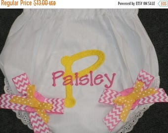 ON SALE Baby Bloomers, Embroidered Monogram Bloomers, Personalized Diaper Cover with Bows