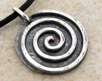 """Sterling Silver Spiral Pendant Necklace for Men or Women - Celtic - Rustic - Primitive - 16, 18, 20, 22, or 24 """""""