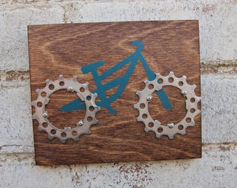 "6""x5"" Recycled Bicycle Mountain Bike Plaque"