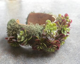 Succulent Jewelry Terrarium Cuff Bracelet Nature Lovers Gift
