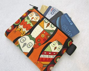 Witchy Stitch Owl Womens Credit Card Case Zippered Coin Purse Wallet Business Card Holder Fabric Alexander Henry Patchwork Owls Orange Black