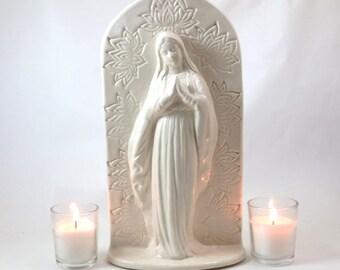 Mother Mary  Sculpture Statue Shrine  Handmade Ceramic Pottery