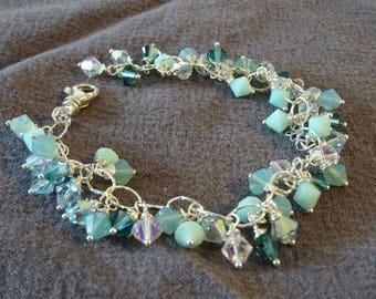 Swarovski Crystals Sterling Silver bracelet Ebb Tide OOAK