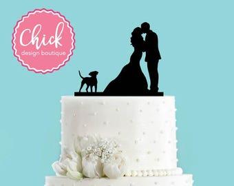 Couple Kissing with Dog Acrylic Wedding Cake Topper