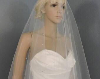 Wedding Veil FINGERTIP Beaded Cut Edge Drop Veil