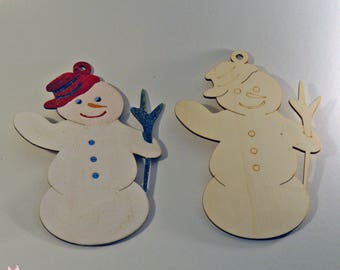 Wood Laser Cut Snowman 25*17 cm Natural Unfinished or Colored Wooden Craft DIY