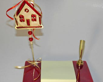 Metal and Glass Pen Holder - Desk Decor Gold Tone - Greek Handmade - House Ornament, Home Decoration, Gift Wrap - Fused Glass