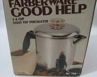 NEW Vintage Farberware Stove Top Percolator Coffee Pot 2-8 Cups