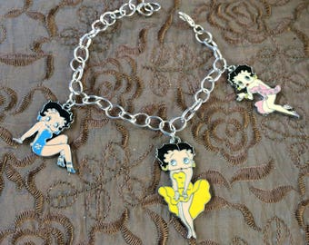 Betty Boop, Classic Looks, Silverplated, Charm Bracelet, BB4
