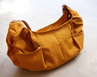 Handbag fabric brown orange polka dot