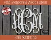 FREE SHIPPING!  Vines Monogram Initials Wood Cutout