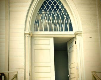 "Church door photography architecture rustic white cream beige - ""Church doorway"" 8 x 10"