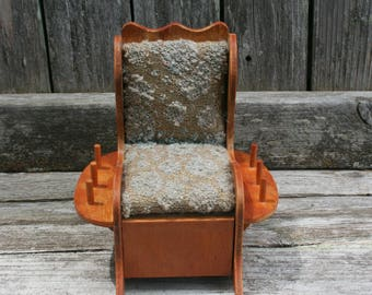 Vintage Wood Rocking Chair Pin Cushion and Thread Holder with Drawer For Storage / Sewing Room