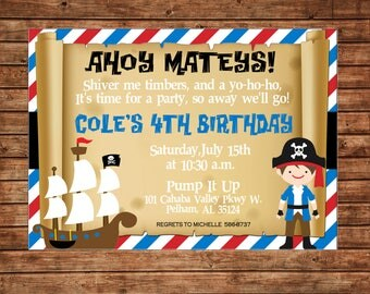 Boy Pirate Map Ship Pirates Ahoy Mateys Stripe Party Birthday Invitation - DIGITAL FILE