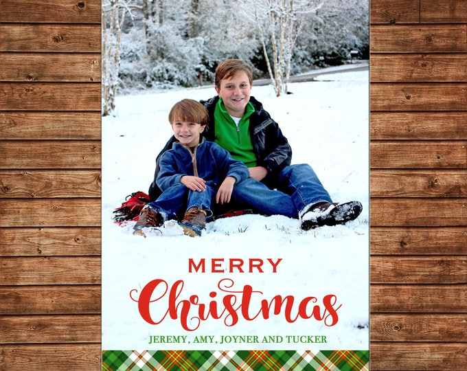 Christmas Holiday Photo Card Red Green Tartan Plaid - Can Personalize - Printable File or Printed Cards