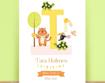 Baby or Child's Personalised Illustrated Alphabet - Name - Initial - Digital - Print - Christening Gift - Present - Nursery Decoration