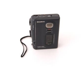 Vintage Sony TCM-59V Portable Cassette Player Recorder with build in speaker and microphone.