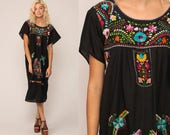 Black Mexican Dress Midi Embroidered Boho Cotton Tunic Hippie Floral Ethnic Bohemian Vintage Rainbow Embroidery Traditional Large