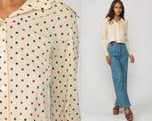 Cropped Blouse 70s Polka Dot Shirt Disco Top Bohemian Shirt 1970s Hippie Cream Long Sleeve Button Up Boho Medium