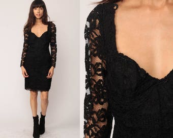 Black Lace Dress 90s Mini Sheer Sleeve BODYCON Gothic Party Long Sleeve 1990s Body Con Goth Bustier Tight Grunge Minidress large