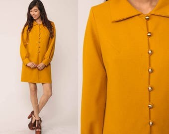 Mod Dress Mini 70s Shift Yellow Button Up Shirtdress Mustard 60s Long Sleeve Vintage Twiggy Gogo Space Age Scooter Retro Medium