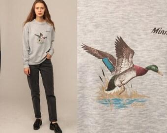 Animal Sweatshirt 80s MALLARD DUCK Shirt Minnesota Sweater Hipster Bird Jumper Slouchy 1980s Graphic Vintage Raglan Sleeve Grey Large