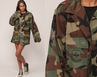 Army Jacket Camouflage Jacket US AIR FORCE Military Shirt 80s Camo Air Mobility Command Commando Patch Cargo Vintage Utility Medium