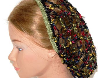 NEW, Civil War, Renaissance,reenactment, Hair Snood,Solomon Knot,Stained Glass Ribbon,Hair Net, Day wear,headdress,head piece,Costume,plays,