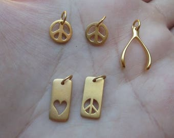 Vermeil Style Peace, Wishbone or  Love & Peace Rectangle Charms-You choose which one