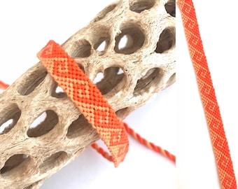 Greek wave friendship bracelet - handmade - woven - knotted - macrame - string - thread - embroidery floss - tidal wave - orange - cotton