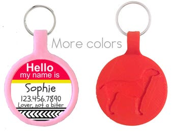 "NEW Silent & Lightweight Eco-Plastic Hello My Name Is"" Silver Pet ID Tag"