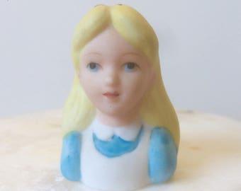 Alice in Wonderland, Disney Collectible, Disney Thimble, Collectible Thimble, Ceramic Thimble, Small Bust, Miniature Bust, Vintage