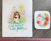 GRAB BAG Originals - Tall Flowers + Lush Flower Bouquet Watercolor Paintings