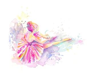 Ballerina Tying Pointe Shoes - PRINT, ballet, watercolor painting, spatter painting, girl art, nursery art, tutu art