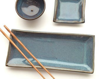 Paul special order-8-Sushi Plate Set - Ceramic Sushi Dinnerware Set - Sushi Set Plate and Sushi Bowls