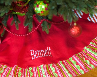 Christmas Tree Skirt Personalized, Holiday decoration, Christmas Decorations, ruffled tree skirt