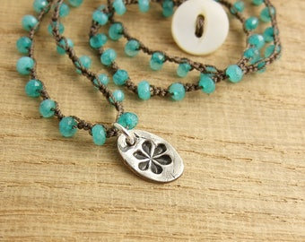 Crocheted Necklace with Brown Cord, Amazonite Beads and a PMC Pendant with a Flower Design SN-284