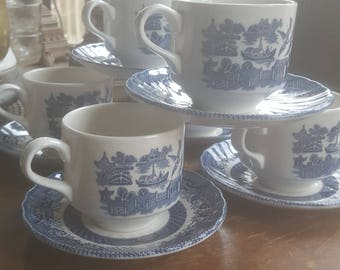 Set of 6  Churchill England cups & saucers blue white collectible  transferware Bluewillow