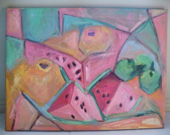 Large Painting Fruit Watermelon 18 x 24 Oil on Canvas Abstract Pink Orange Green