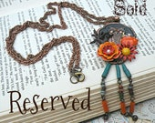 SOLD..autumn owl necklace assemblage fall collage woodland forest upcycled floral hippie beaded fringe repurposed jewelry