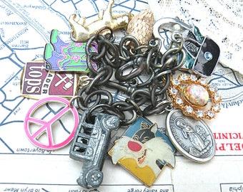 recycled random charm bracelet assemblage found objects eco friendly upcycled jewelry crazy mix