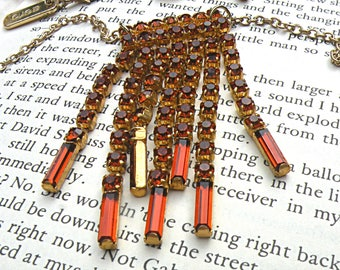 fall rhinestone fringe necklace assemblage upcycled jewelry warm russet brown caramel simple classic flea market find