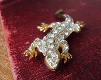Vintage Rhinestone Brooch Pin Clear Glass Stones Lizard Reptile Jewelry Gold tone Metal Costume Jewelry