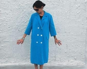 25% OFF SALE Vintage 1960s Pastel Blue Button Down Spring Linen Coat